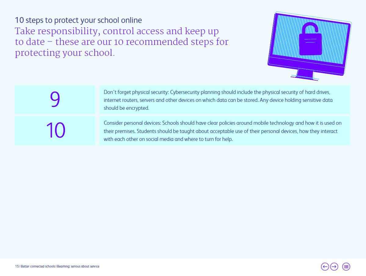 Better Connected Schools Report: Using technology in school. Cyber safety tips