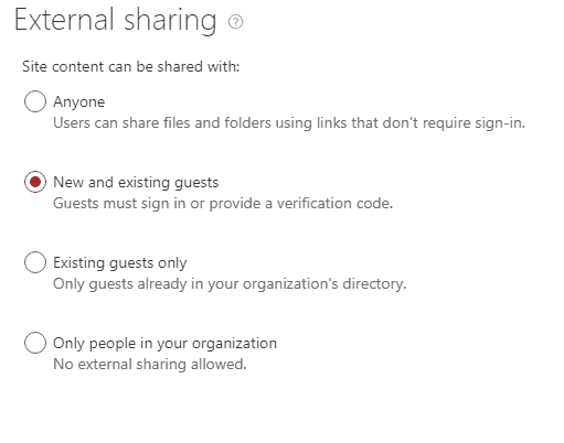 Enable external sharing with Sharepoint