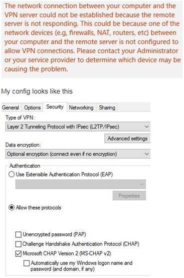 L2TP/IPSEC VPN not working