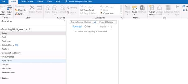 Disable focused inbox when all emails do not show in Outlook 2016