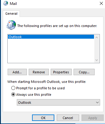 Create a new mail profile 2