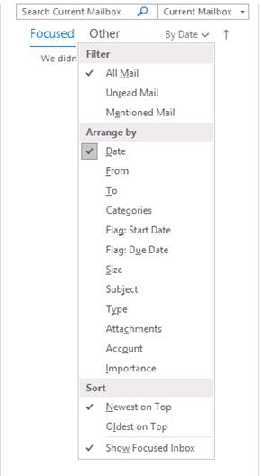 Disable focused inbox when all emails do not show