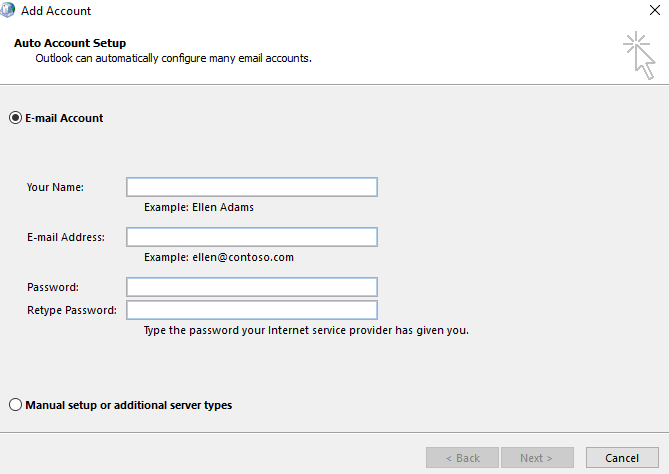 Create a new mail profile step 3